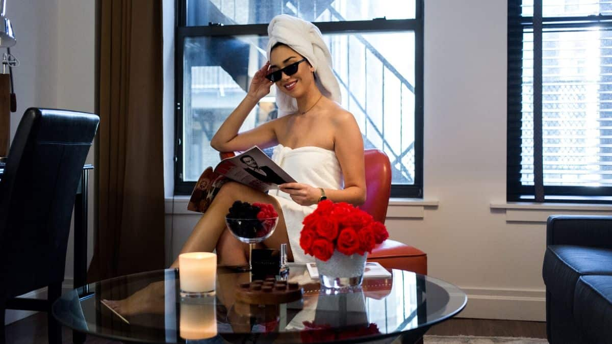 woman on staycation at avalon hotel nyc